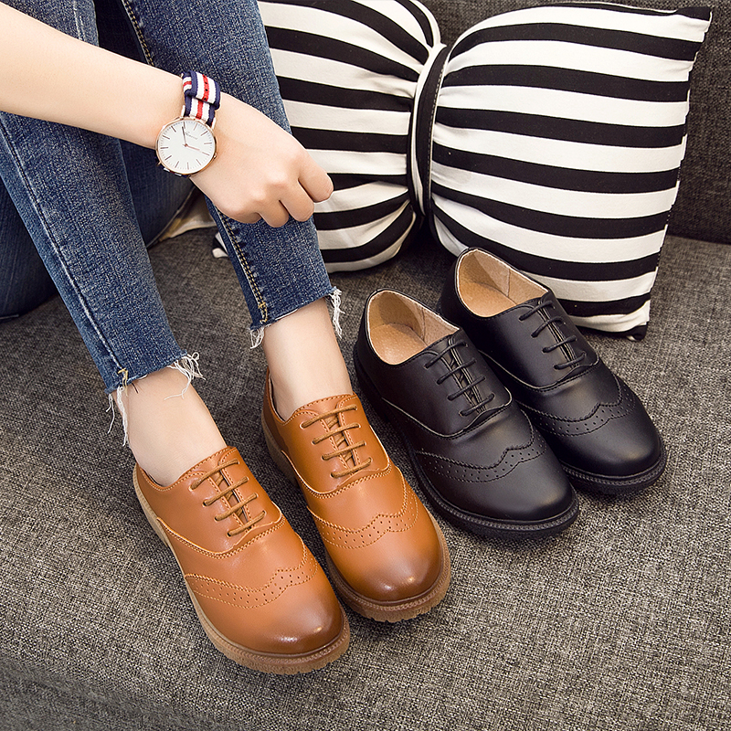 Style brown Femmes Cuir Mode Appartements Taille Calzado red Angleterre Plate Chaussures 4 Richelieus En Grande forme Beige Femme Brown Vintage Casual Automne De black black Mujer qtgEPn7