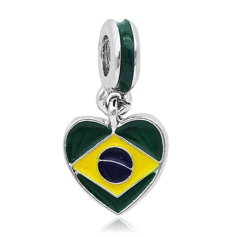 Free shipping New arrivals 1pc Enamel Brazil Flag Beads Dangle Charms Fits European Pandora Charm Bracelets Fashion jewelry 2019