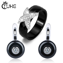 8mm Width X Cross Ceramic Rings Stud Earrings Wedding Party Jewelry Sets Bling Rhinestone CZ Healthy Gift