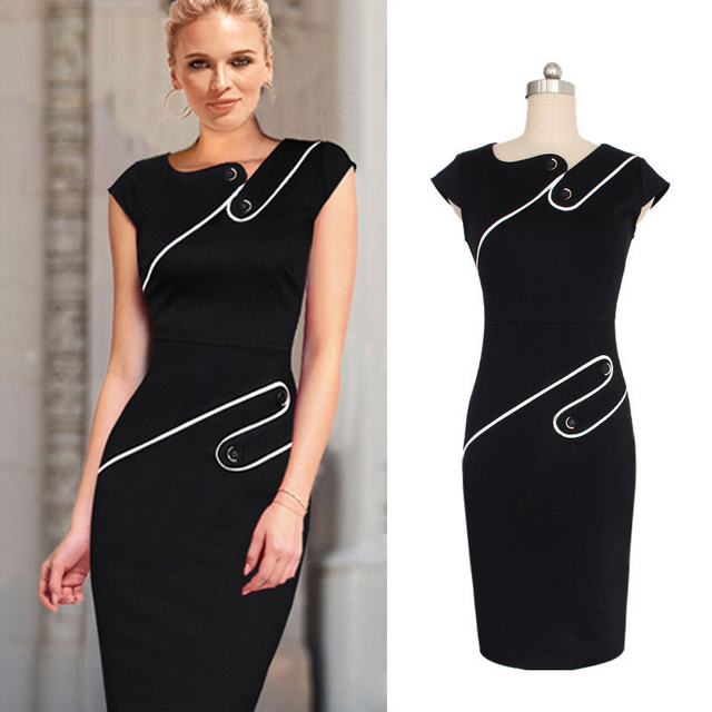 Chic Black Woman Costume Sleeve Cap Solid Sheath Bodycon Business ...