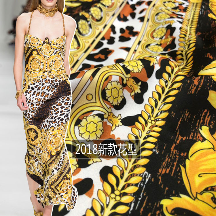 New digital printing fabric 2018 Europe and the United States satin fabric high fashion fabric wholesale