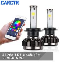 CARCTR 1 Pair LED Car Fog Lights H7 RGB Colorful APP Control H1 H3 H4 H11 9005 9006 9007 9012 9004 880 Car Modified Fog Lamps