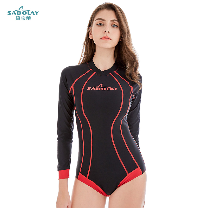 SABOLAY Women Long Sleeve Swimwear Print Surfing Bathing Suits One Piece Sport Swimsuit Female Beach Clothes Rash guard suit