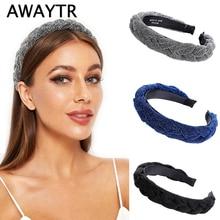 AWAYTR Новая модная однотонная плетеная Мягкая повязка на голову для женщин, женская повязка на голову, головной убор для девочек, аксессуары для волос