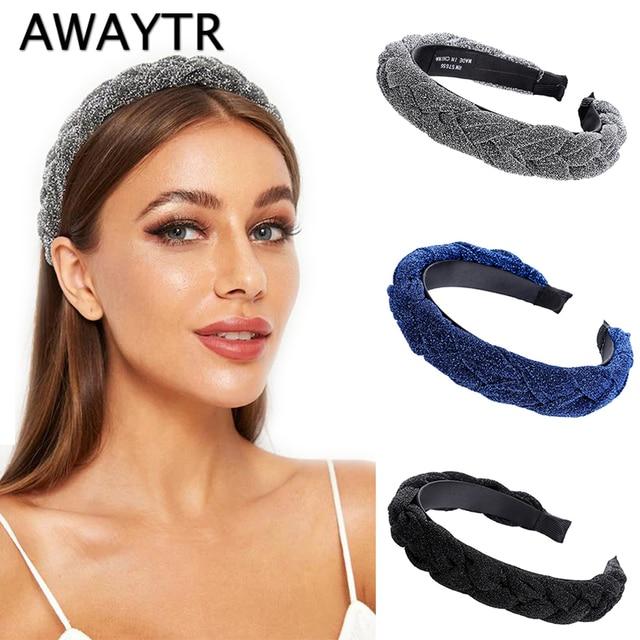 AWAYTR New Fashion Solid Braided Padded Headband for Women Ladies Hairband Girls Headwear Headdress Hair Accessories