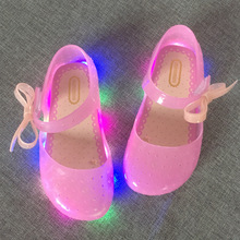 new LED light flashing bow buttress cool slippers fish head mouth head jelly girl fragrant princess shoes