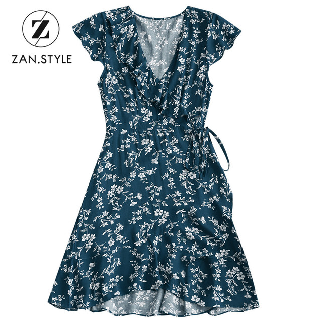 19f699637c52 STYLE Women Floral Wrap Mini Dress V-Neck Short Sleeves Ruffle Bowknot  Vintage Dresses Casual Summer Female Dress Vestidos