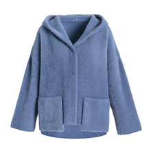 2018 Autumn And Winter New Woolen Coat Hooded Knit Jacket Thick Loose Fashion Solid Color Micro-elastic Shirt