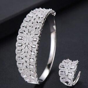 Image 3 - Missvikki El Yapımı Prong Ayarı AAA CZ Bileklik Açık Halka takı seti Lüks Muhteşem Geometrik Kadınlar için Gelin düğün takısı