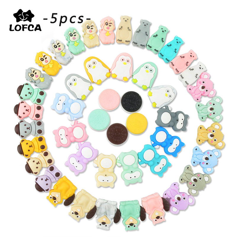 LOFCA 5pcs Silicone Beads Animal Cartoon Baby Teether Toys Cute Chew Beads Food Grade DIY Pacifiers Necklace Accessories Making