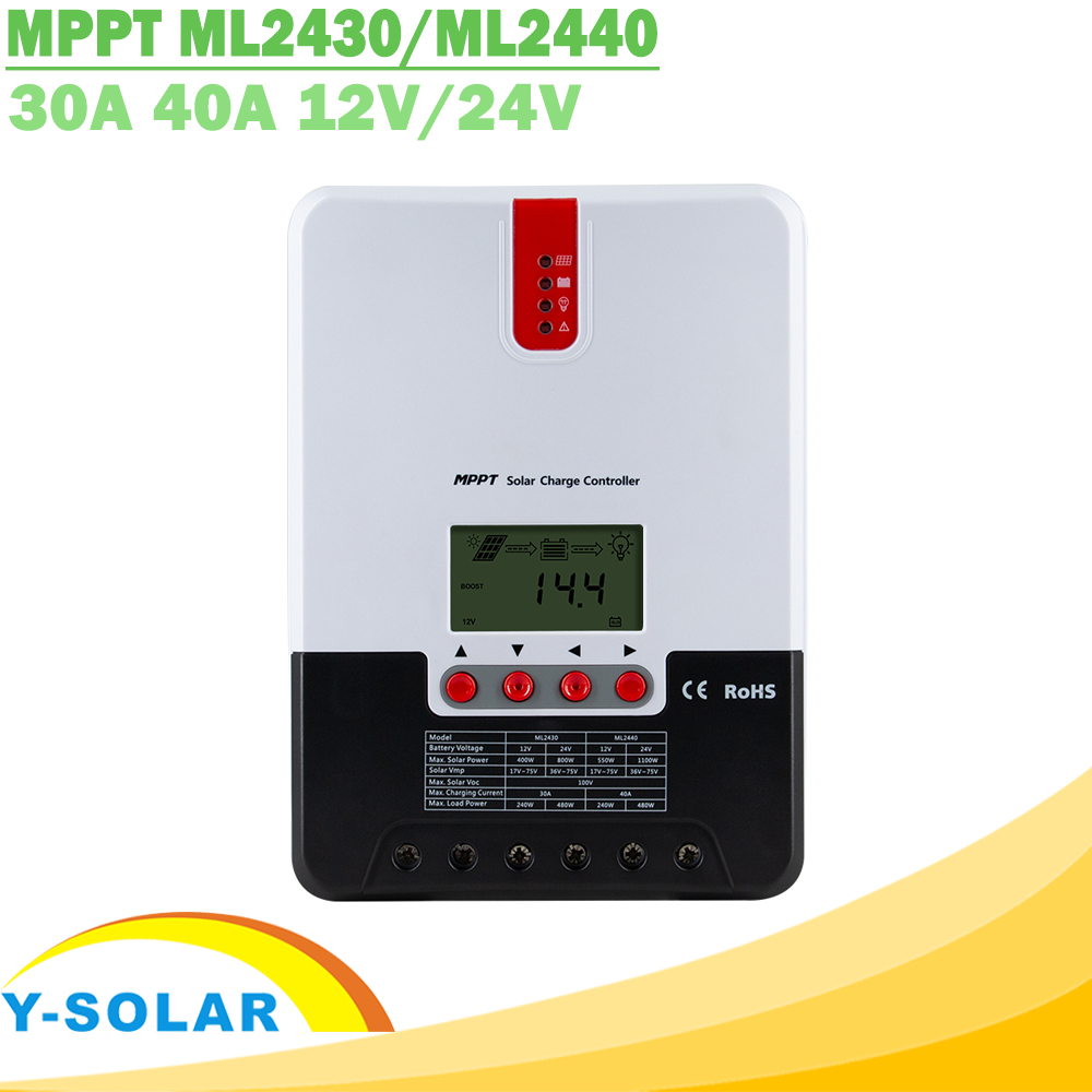 MPPT 30A 40A Solar Charge Controller 12V 24V Auto LCD Display Solar Charger Lithium Lead Acid Gel AGM for Max 100V Solar Panel