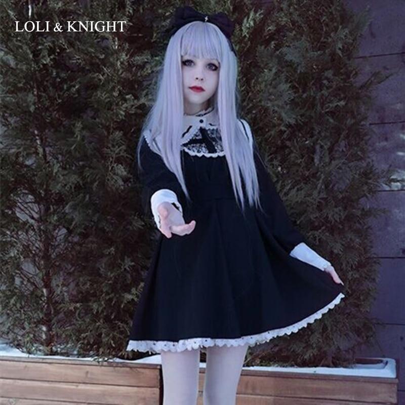 Japanese Harajuku Black Gothic Lolita Dress Girls Nun Sister Anime Cosplay Party Dress