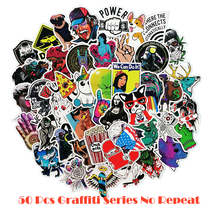 50 pcs/pack Classic Fashion Style Graffiti Stickers For Moto car & suitcase cool laptop stickers Skateboard sticker 50 pcs pack stickers classic fashion style graffiti stickers for moto car