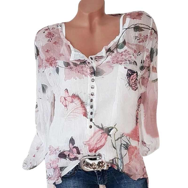<font><b>5XL</b></font> Chiffon Blouse Women Summer Long Sleeve Print Shirt Blouse <font><b>Femme</b></font> Plus Size Casual Ladies Tops Spring <font><b>Sexy</b></font> Shirt Blouse Q1383 image