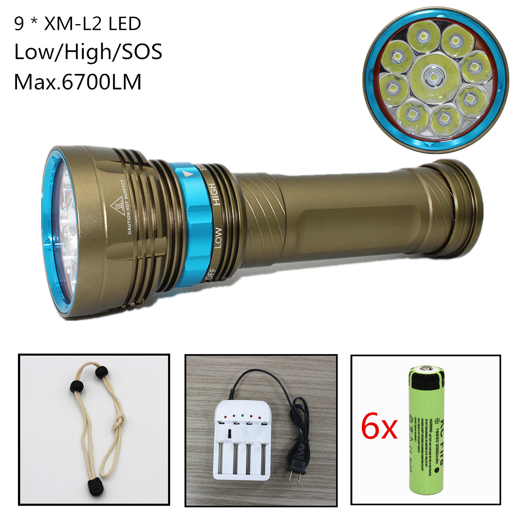 Waterproof Diving Flashlight 6700 Lumens 9x CREE XM-L2 LED White Light Underwater Scuba spearfishing Flashlight Torch diving 4000 lumens cree xm l2 led 3 l2 led t6 flashlight torch waterproof underwear lamp light super white light