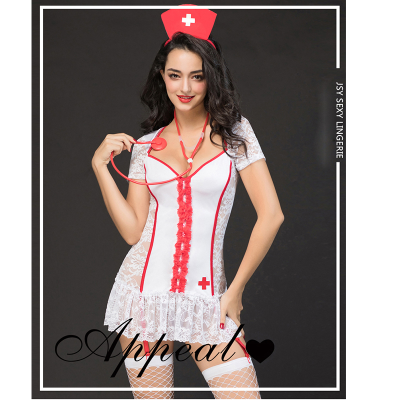 Sexy lace Lingerie Roleplay Nurse Costume Nurse Outfit Dress Hat Sexy Costumes Fashion Clothing