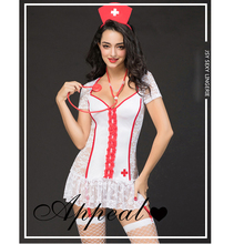 Sexy lace  Lingerie Roleplay Nurse Costume Outfit Dress& Hat Costumes Fashion Clothing