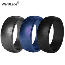 Juego de anillos de silicona para hombre, sortija de dedo de silicona de grado alimenticio FDA hipoalergénica Flexible para deportes al aire libre, bandas de goma antibacterianas, 3 unidades