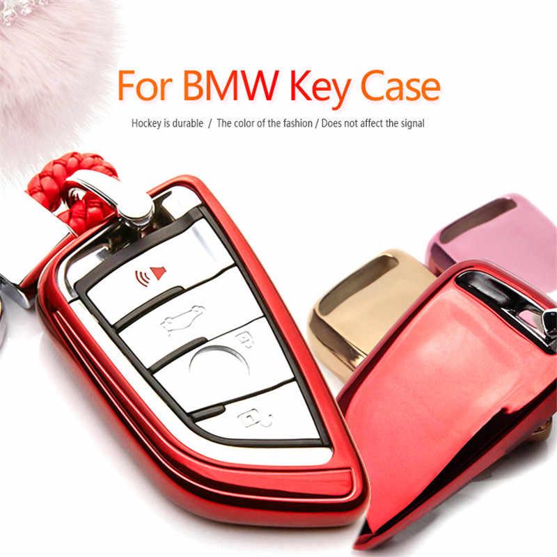 KUKAKEY TPU Shell Suporte Chave Do Carro Caso Saco Capa Para BMW 1 2 5 7 Série X1 X3 X4 X5 f15 X6 218i F48 Mão-Tecido Chaveiro Keychain