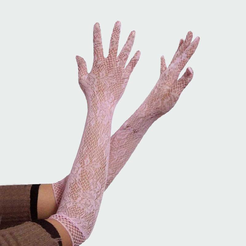 Горячее сексуальное ПЕРФОРИРОВАННОЕ женское белье анти-УФ кружевные перчатки невесты и длинными прозрачными Секс перчатки для Для женщин БДСМ веревка из сетчатого материала с цветочным рисунком перчатки ST01