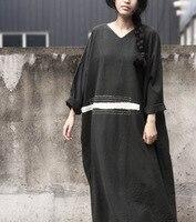 New Original Women Black Patchwork Vintage Dresses Autumn Spring Linen Female V Neck Pullovers Long Sleeve