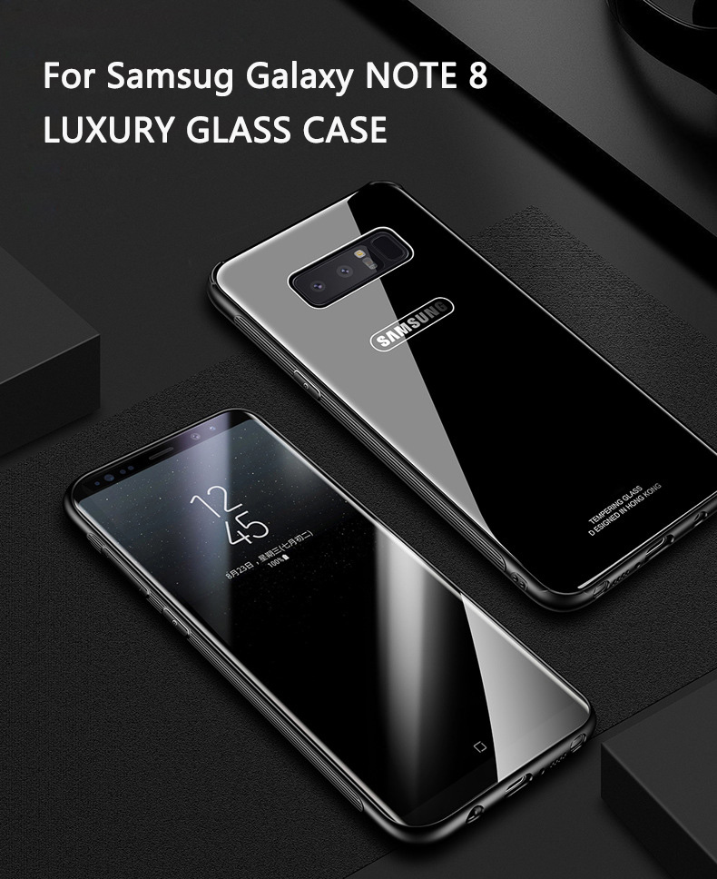 Case for Samsung NOTE 8 S8 Plus Kiitoo Luxury Glass Back Cover Hard Phone Case for Coque Samsung Galaxy S8 Plus Accessories -1