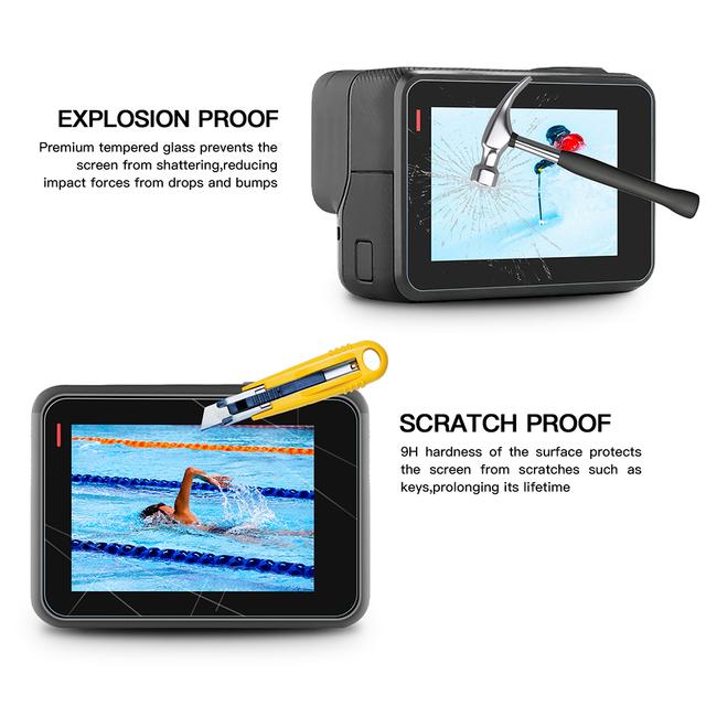 SHOOT Tempered Glass Lens + LCD Screen Protector For GoPro Hero 7 6 5 Hero7 Hero6 Hero5 Black Camera Protective Film For Go Pro