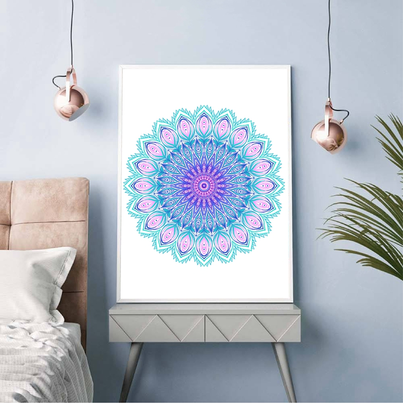 Mandala Peacock Feather Canvas Painting Bedroom Decor