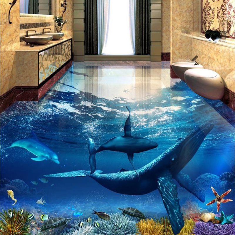 PVC Self Adhesive Waterproof Floor Sticker Whale Dolphin Undersea World 3D Floor Tiles Bathroom Bedroom Vinyl Murals Wall Paper