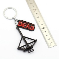 J store 10Pcs/lot Black The Walking Dead Crossbow Letter Alloy Keychains Best Friend Gift Movie Jewelry Key Ring Chaveiro