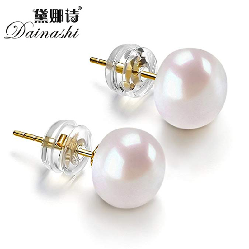 Dainashi High Quality 925 Silver Gold Color 8 9mm Bread Round Freshwater Cultured Pearl Stud Earrings For Women Birthday Gift