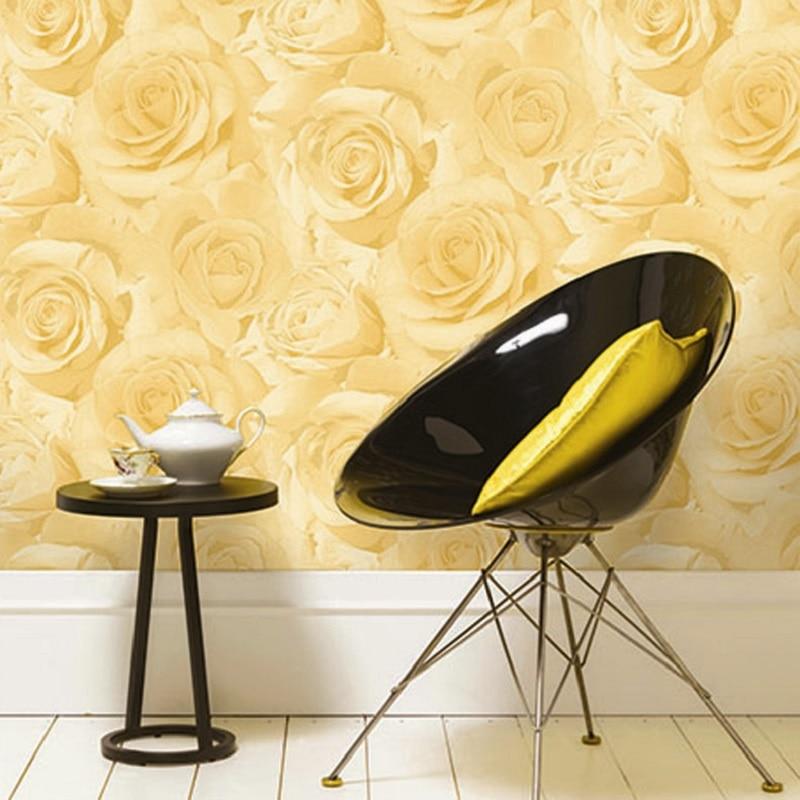 цена на 10 meter 3D Beige Purple Rose Flower Floral Bloom Feature Designer Wallpapers Roll wallpaper wall paper,papel de parede listrado