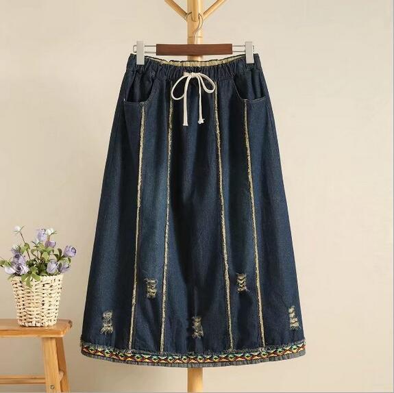 Punk trou fil de couleur broderie laçage cheville-longueur denim jupe