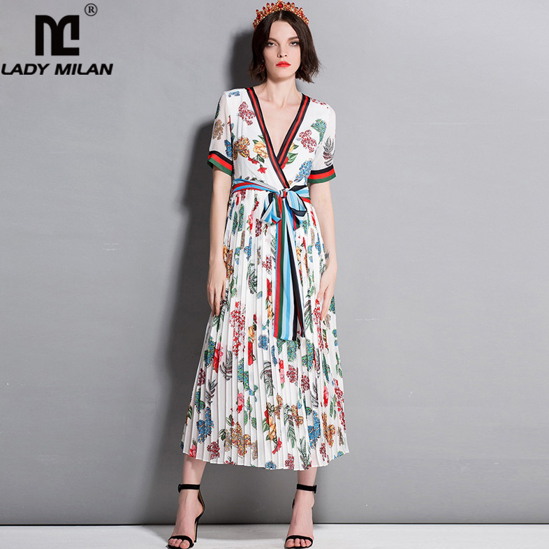 New Arrival Womens Sexy V Neck Short Sleeves Striped Sash Belt Floral Printed Fashion Casual Runway Dresses