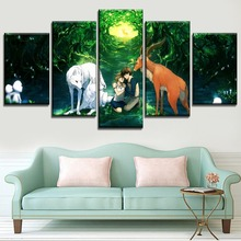 Wall Art Cartoon Movie Princess Mononoke Poster Modern Home Decor Modular Style 5 Piece HD Print Type Canvas Painting