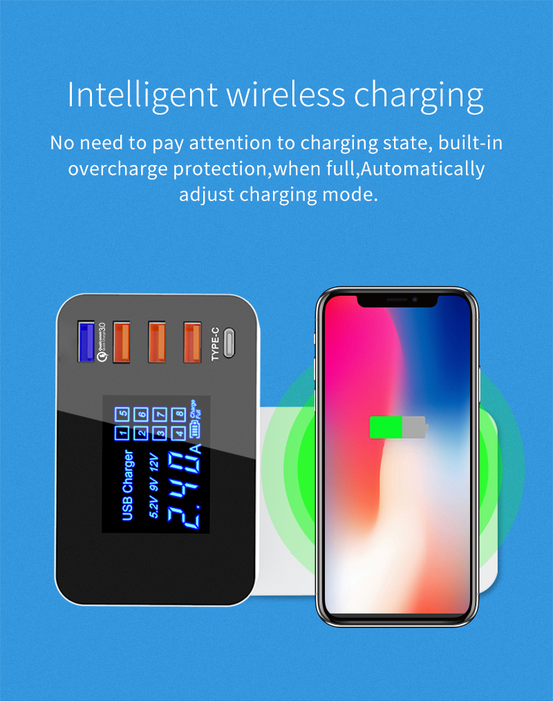 Quick Charge 3.0 Smart USB Type C Charger Station Led Display Fast Wireless Charger (5)
