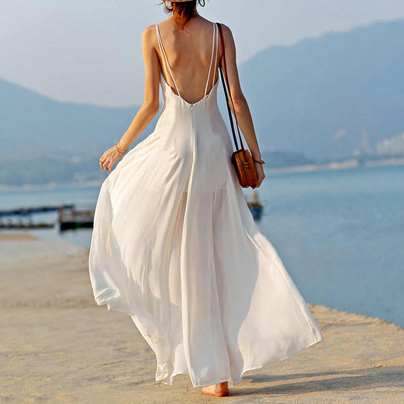 Hot Sale Boho White Dress Long Dresses Woman Elegant Party Vestidos Strap Sexy Dress Summer Beach Casual Chiffon Dresses Women's