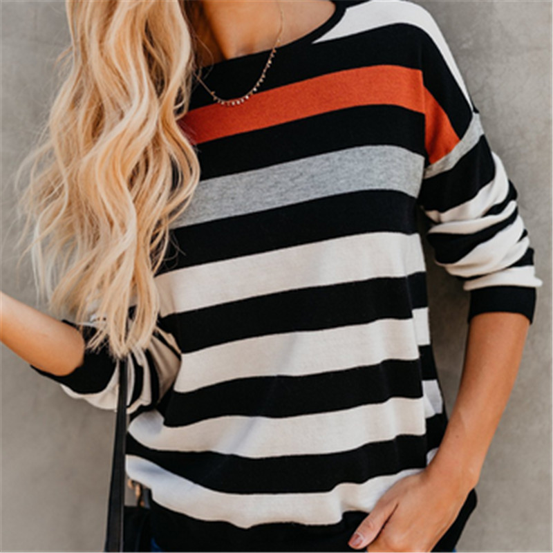 Autumn Winter Sweater Women Multi-Color Stripe Round Neck Pullover Knit Sweater Loose Long Sleeves Women Tops Maillot de bain