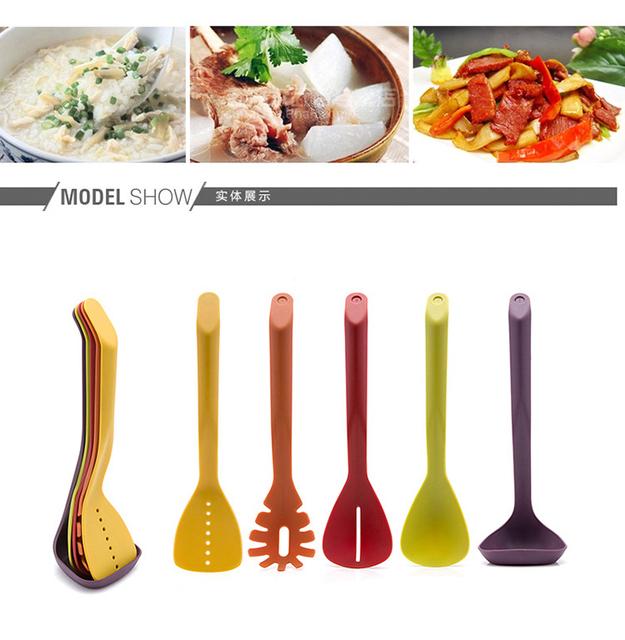 Heat-Resistant Nylon Cooking Utensil Set – Non-Stick Kitchen Nylon Utensil Set-Cooking Spatula Slotted Spoon Soup Ladle