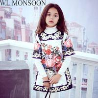 W L MONSOON Girl Dress With Beading 2017 Brand Kids Winter Dresses For Girls Clothes Flower