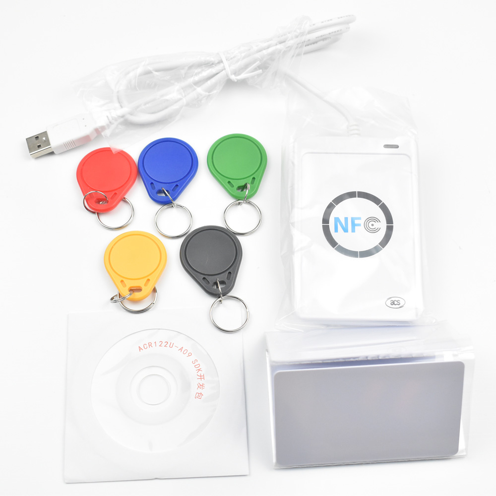 USB ACR122U NFC RFID Smart Card Reader Writer  + 5 pcs UID Cards +5pcs UID Tags+ SDK + M-ifare Copy Clone Software 13 56mhz nfc iso 14443a 15693 rfid writer usb yhy638fu sdk software ereader v8 3 6tags