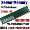 Workstation RAM 16GB PC4-21300 2666MHz ECC Unbuffered 8GB DDR4 2400 PC4 19200 4GB 17200 2133 MHz 288pin 1,2 V Server Speicher