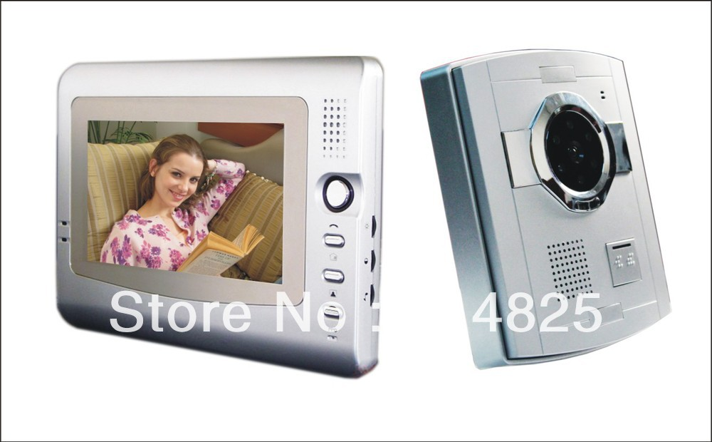 Free shipping 7 inch color handfree indoor monitor plastic camera video door phone for villa intercom systems night vision 7 inch video doorbell tft lcd hd screen wired video doorphone for villa one monitor with one metal outdoor unit night vision