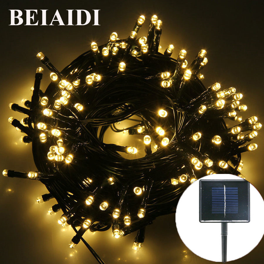 BEIAIDI 52M Solar Led Fairy String Lights Outdoor Garden Fence Patio Fairy Garland 8 Mode Wedding Christmas Party Decor Lights solar string lights 50 led blossom flower fairy light christmas lights for outdoor led garland patio party wedding decoration