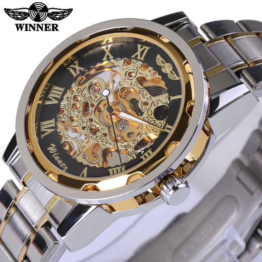 Mechanical Skeleton Watch Transparent Gold Watch Men Watches Top Brand Luxury Relogio Male Clock Men Casual Watch Montre Homme automatical mechanical watches men luxury brand watch male clock leather wristwatch men skeleton casual business gold watch