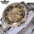 Relógio Esqueleto Transparente mecânico Relógio De Ouro Dos Homens Relógios Top Marca de Luxo Relogio Masculino Relógio Men Casual Assista Montre Homme