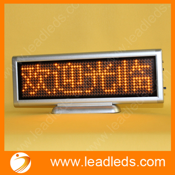 LED desk message display mini led moving sign board Yellow scrolling text car Indoor programmable image led advertising screen