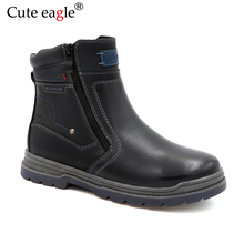 Cute Eagle Boys Felt Boots Winter Kids Snow Sport Children Shoes For Boy Sneakers Fashion Leather Rubber EU 32-37