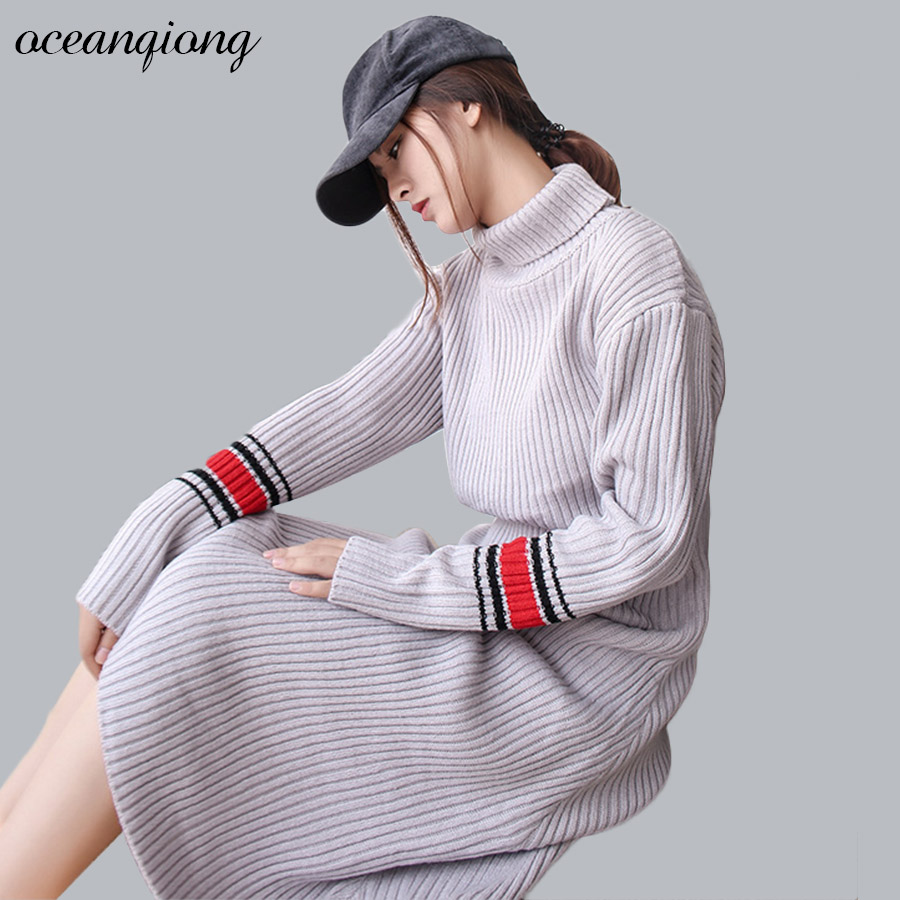 Warm Knitted Dresses Turtleneck Long Knitted Sweater Dress Women Slim Bodycon Solid Pullover Winter Dress Knitted 2017