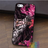 Camo Realtree Deere Pink Fish Pattern Fashion Cell Phone Case For Iphone 4 4s 5 5s
